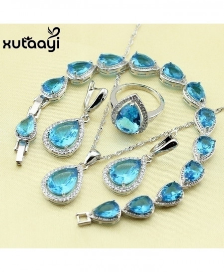 Xutaayi Blue Cubic Zirconia 925 Silver Water Drop Wedding Jewelry Set