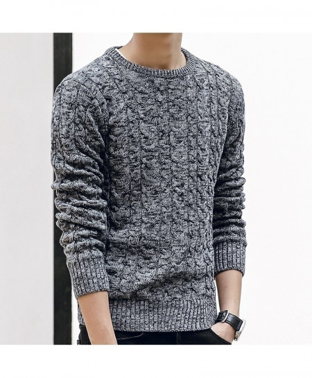 HANQIU Gray Pullover Men Jumper Sweater