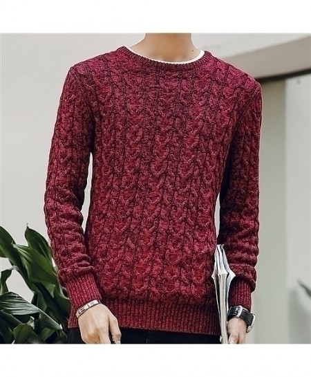 HANQIU Maroon Pullover Men Jumper Sweater
