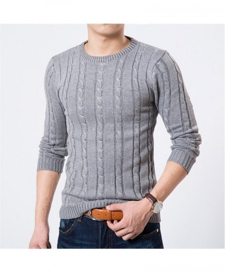 MOK MORS M Gray Warm Slim Fit Pullover Sweater