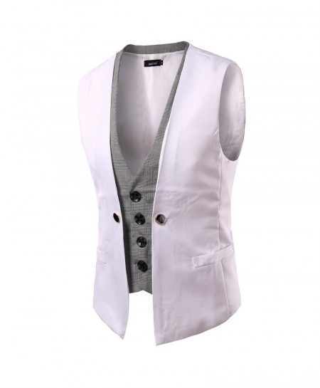 AIMENWANT White Slim Fit Double Chested Waistcoat