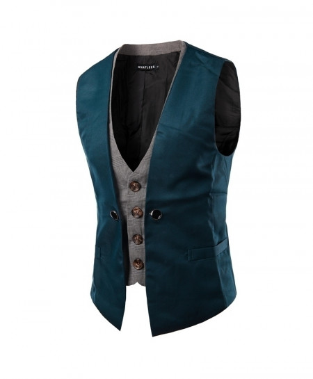 AIMENWANT Blue Slim Fit Double Chested Waistcoat
