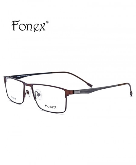Fonex Brown Titanium Ultralight Square Screwless Optical Frame