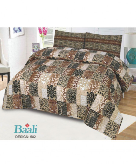 Brown Floral Cotton Bedsheet PBS-B-502