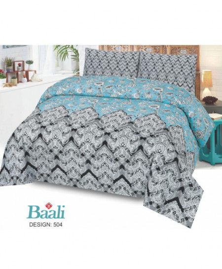 Blue Gray Floral Cotton Bedsheet PBS-B-504
