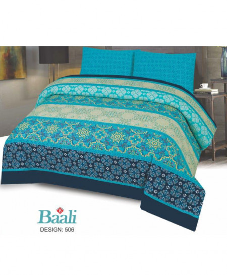 Blue Beige Floral Cotton Bedsheet PBS-B-506