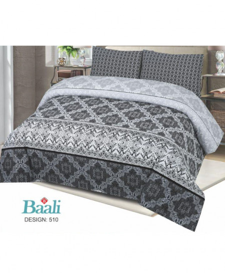 Gray Black Floral Cotton Bedsheet PBS-B-510