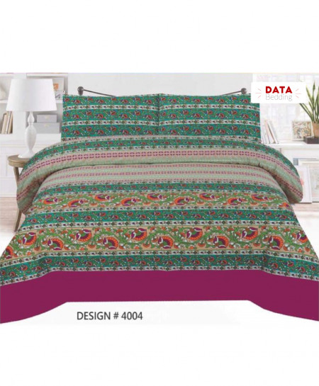 Green MultiColor Floral Cotton Bedsheet PBS-DB-4004