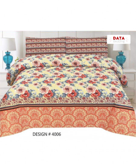 Peach Yellow Floral Cotton Bedsheet PBS-DB-4006