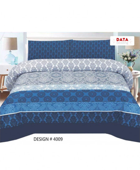 Navy Blue Floral Cotton Bedsheet PBS-DB-4009