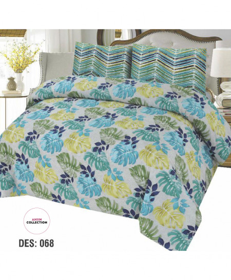 Green Blue Tropical Style Cotton Bedsheet PBS-AC-068