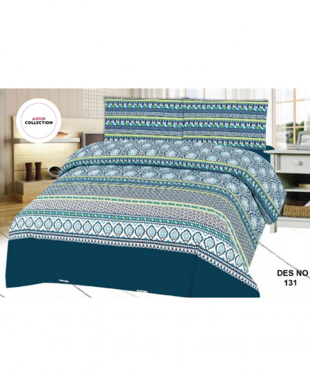Blue White Floral Cotton Bedsheet PBS-AC-131
