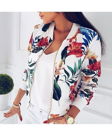 White Floral Print Zipper Up Casual Coat Jacket