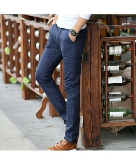 COL CATLEN Blue Long Straight Casual Cotton Pant