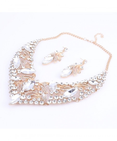 Gorgeous White Rhinestone Crystal Choker Necklace Jewelry Set