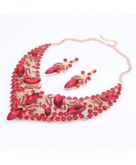 Gorgeous Red Rhinestone Crystal Choker Necklace Jewelry Set