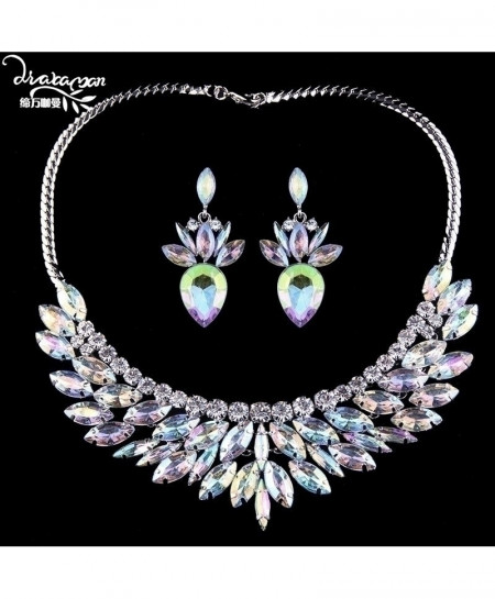 Dvacaman AB Color Crystal Shiny Jewelry Set