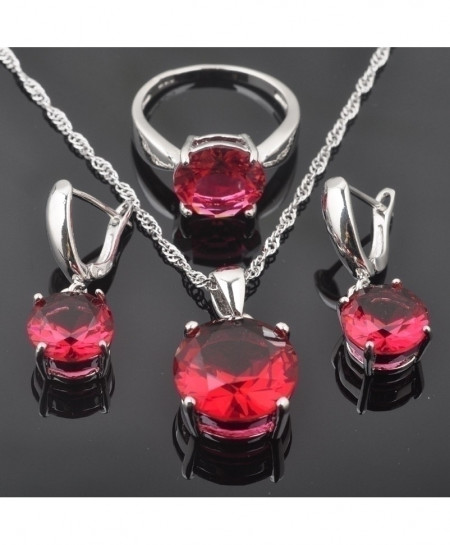 FAHOYO 925 Sterling Silver Classic Round Red Zircon Jewelry Set