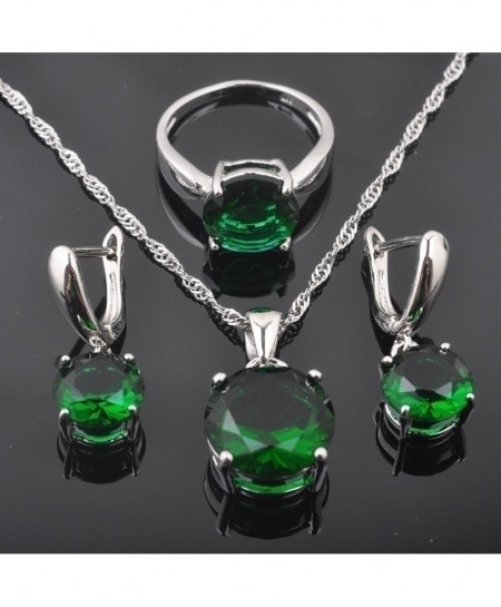 FAHOYO 925 Sterling Silver Classic Round Green Zircon Jewelry Set