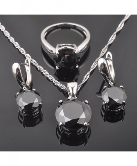 FAHOYO 925 Sterling Silver Classic Round Black Zircon Jewelry Set