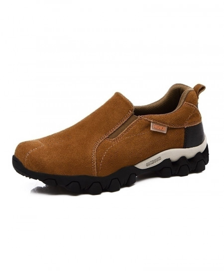 Brown Slip On Hiking Rubber Leather Boots