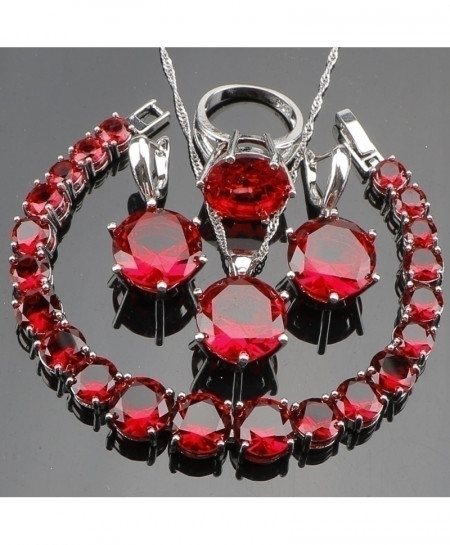 Red Zirconia Silver 925 Bridal Jewelry Set