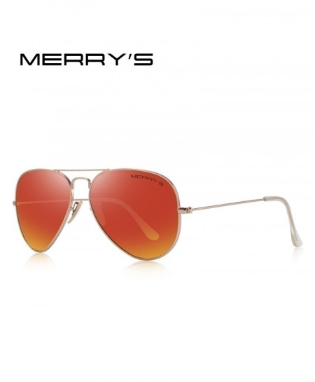 MERRYS Red Gradient Shaded Classic Pilot Polarized 58mm UV400 Sunglasses