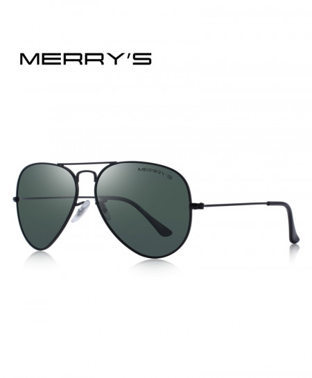 MERRYS Black Green Classic Pilot Polarized 58mm UV400 Sunglasses