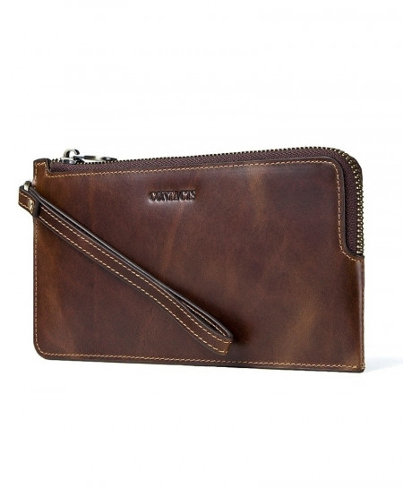 CONTACTS Coffee Genuine Leather Long Thin Slim Wallet