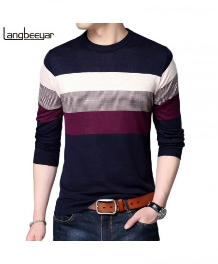 LANGBEEYAR Navy Blue Multi Color Stripes Breathable Slim Fit Men Pullover Sweater