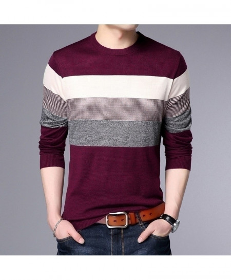 LANGBEEYAR Maroon Multi Color Stripes Breathable Slim Fit Men Pullover Sweater