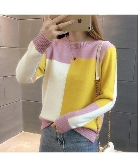 TIGENA White Pink Yellow Contrast Color Winter Jumper Pullover Knitted Sweater
