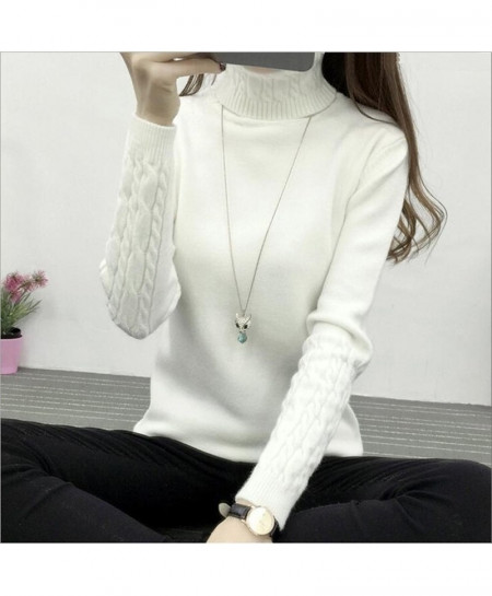 White Turtleneck Pullovers Knit Sweater