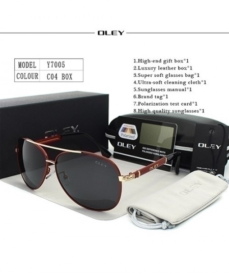 OLEY Red Polarized Classic Pilot Golden Sunglasses