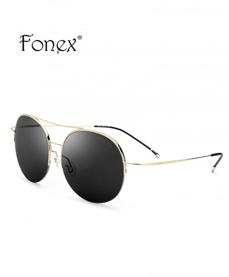 Fonex Black Golden No Screw Titanium Alloy Sunglasses Round Nylon Lens Sunglasses
