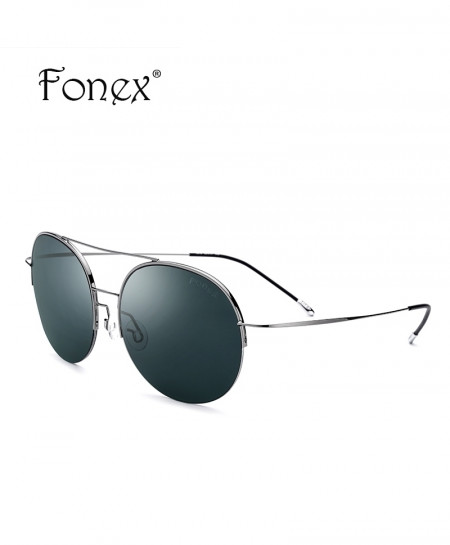 Fonex Army Green No Screw Titanium Alloy Sunglasses Round Nylon Lens Sunglasses