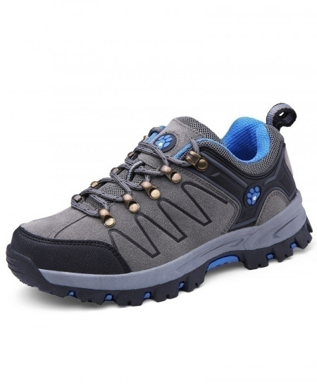 Gray Blue Couples Hiking Tactical Sneakers Rubber Bottom Trekking Shoes