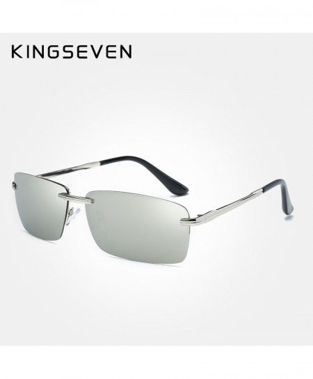 KINGSEVEN Silver Rimless Polarized Luxury Sunglasses