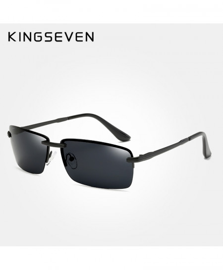 KINGSEVEN Gray Black Rimless Polarized Luxury Sunglasses