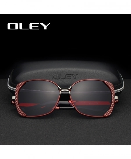OLEY Red Butterfly HD Classic Fashion Large Frame Polarized Sunglasses