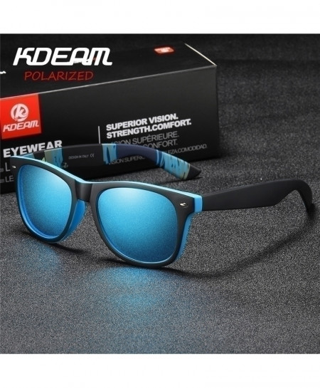 KDEAM Blue Black Polarized Square Classical Sunglasses C6