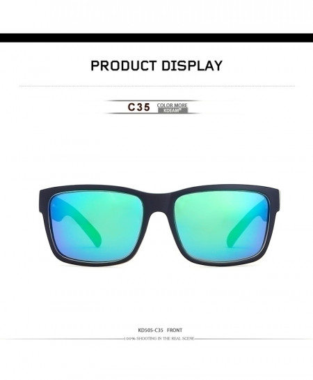 KDEAM Blue Shaded Sport Sunglasses Polarized Square C35