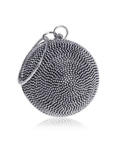 SEKUSA Dual Tone Ceramics Round Shaped Handbags Diamonds Clutch