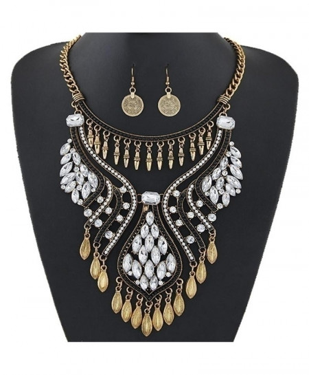 Xiacaier Ethnic Water Drop Resin Rhinestone Chokers Jewelry Set