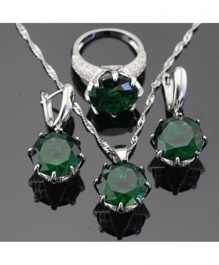Green Stones Silver Color Jewelry Set