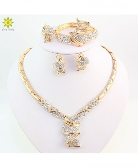 OUHE Golden Color Alloy Rhinestone Wedding Jewelry Set