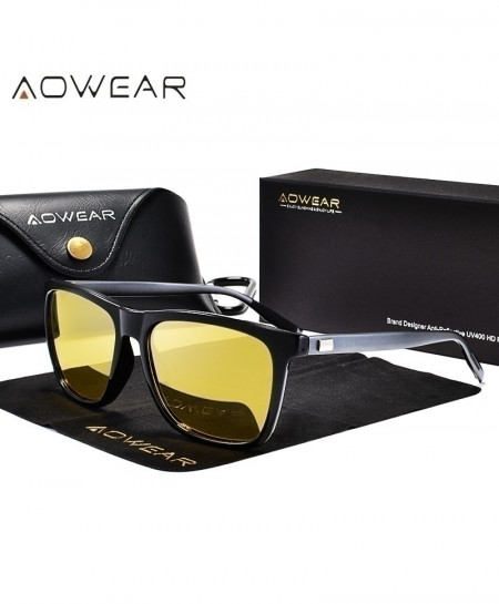 AOWEAR Black Gray HD Night Vision Aluminium Yellow Lens Sunglasses