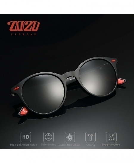 2020 Black Red Polarized Oval Sunglasses