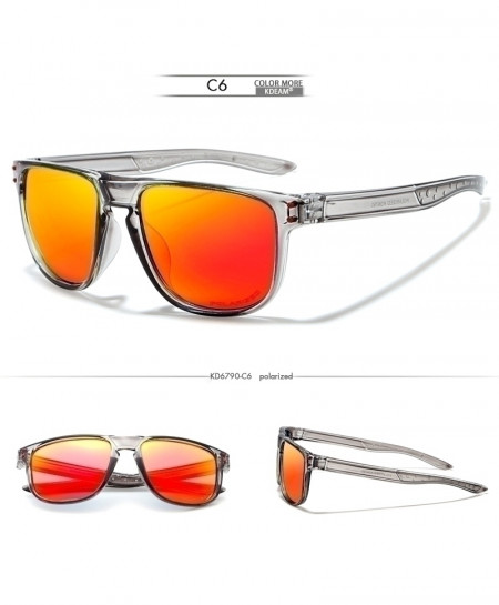 KDEAM Silver Orange Non-Slip Design Sport Polarized Sunglasses
