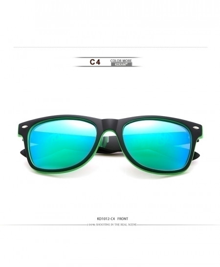 KDEAM Black Green Polarized Square Classical Sunglasses C4